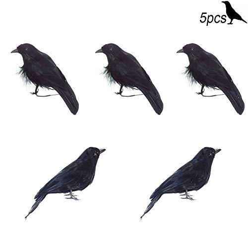 The Crow Halloween (MUSCARE Halloween Black Crow Realistic Feathered Birds Model Party Decorations Prop)