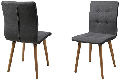 AC Design Furniture H000014095 Esszimmerstuhl 2-er Set Charlotte, Sitz/Rücken Stoff, Seiten dunkelgrau, knöpfen hellgrau