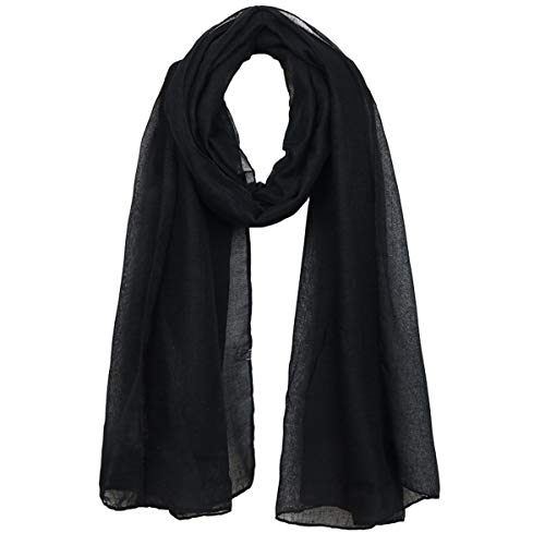 Kingree Women's Light Weight Scarf, Muffler Neckerchief for Women and Girls, Solid Color Series (Black)