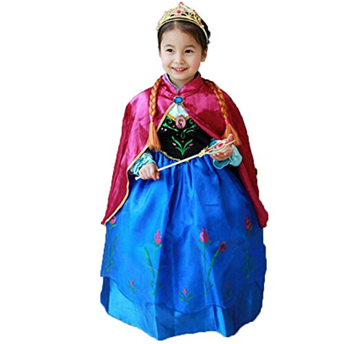 Princess Anna Lace Paisley Chiffon Cosplay Costume Play Long Dress for Girls Kids