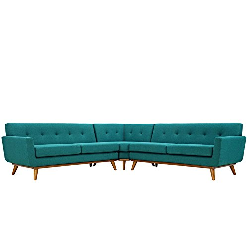 Modway Engage Mid-Century Modern Upholstered Fabric L-Shaped Sectional Sofa In - Upholstery Lexington Collection
