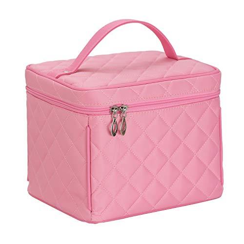 Elezay Cosmetic Bag Makeup Mirror Toiletry Travel Handle Large Capacity Pink