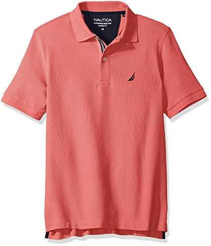 Nautica Men's Standard Classic Short Sleeve Solid Polo Shirt, Dreamy Coral, (Performance Pique Polo Shirt)