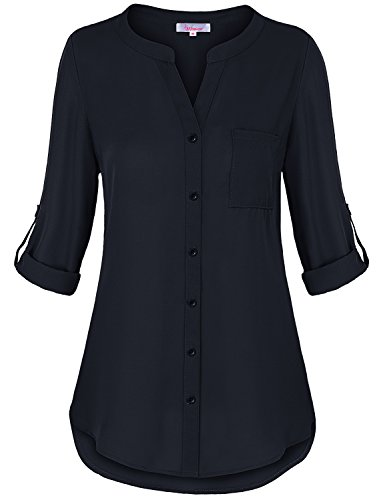 Misswor Women Tops and Blouses, Womens Banded Collar Rolled Half Sleeve Button Down Flowy Hem Lightweight Soft Crepe Shirt Tunic Spring Tops Royal Blue XL