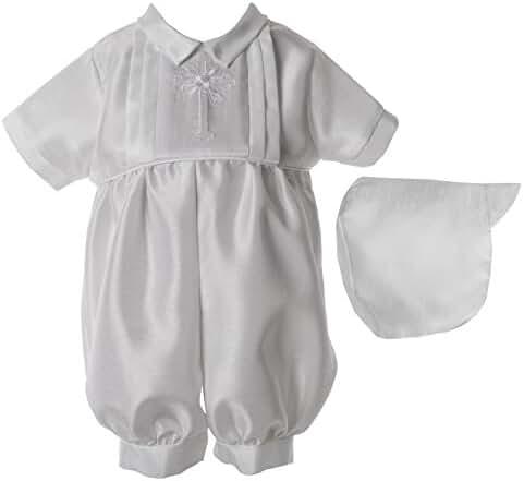 Lauren Madison Baby Boys' Christening Baptism Shantung 2 Piece Romper