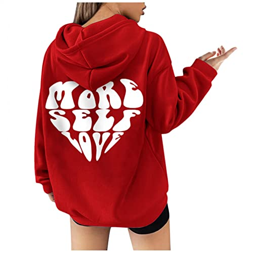 Women's Thick Blouse - Ladies Loose Casual Hoodies Alphabet Printed Long-Sleeved Pullover (Red-6,Small)