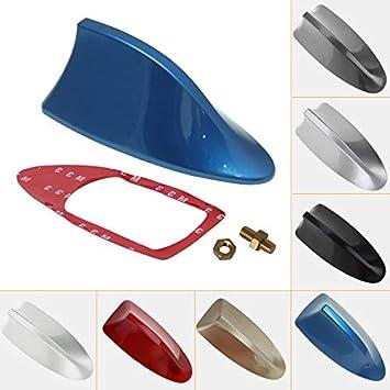 Antena decorativa para radio de coche universal de Feeldo, para techo, tipo aleta de tiburón. Con función radio FM/AM (plata)