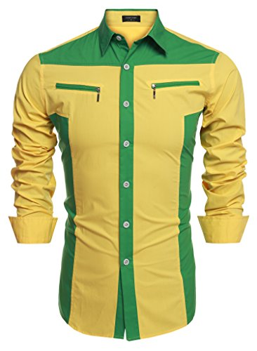 COOFANDY Mens Western Cowboy Shirt Embroidery Contrast Piping Button Down Shirt (Small, Yellow 2)