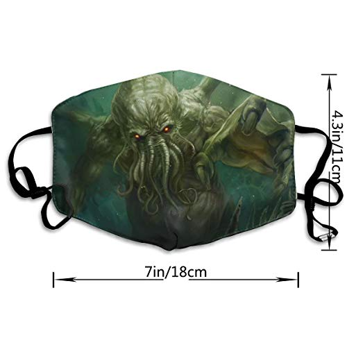 CAWHJDW Outdoor Sports Mask Dead Cthulhu Waits Dreaming Print Anti-dust Mouth Mask Durable Anti Pollution Face Mask Women and Men