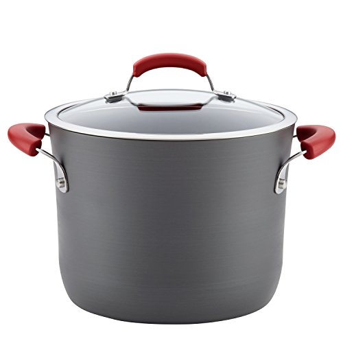 - Rachael Ray Hard-Anodized Aluminum Nonstick Covered Stockpot, 8-Quart, Gray with Red Handles