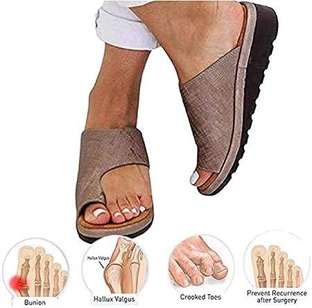 KT Mall 2020 Nuevas Mujeres cómodas Sandalias de Plataforma Zapatos ortopédicos Verano Punta Plana Post juanete Zapatillas de Viaje correctivas de Playa para Novias Regalos de Madre,Marrón,5 UK