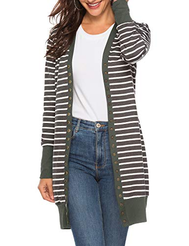(Viracy Womens Cardigans, Ladies Button Long Sleeve Casual Knit Long Open Cardigans Striped Knee Length Slouchy Thin Lightweight Sweaters (Small, Green-Stripe) st Patricks)