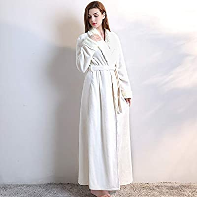 Gelaiken Women Socks Autumn Winter Flannel Bathrobes Faux Fur Collar Coral Velvet Nightgown Pajamas Home Service Fashion Bathrobe (Color : White, Size : M) Girls Knee-high Socks