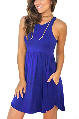 Unbranded* Women's Sleeveless Loose Plain Dresses Casual Short Dress with Pockets Royal Blue XX-Large