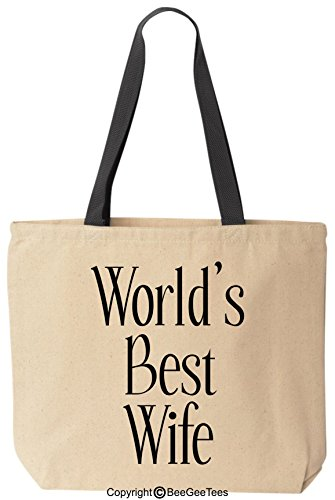 """BeeGeeTees® """"World's Best Wife"""" Tote - Valentine's Day Gifts, Romantic Anniversary Gifts, Wedding Gifts, Mothers Day Gifts, Gifts for Her, Christmas Gifts Reusable Cotton Canvas Bag"""