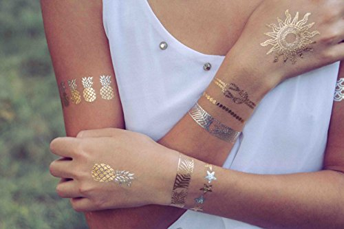 Sun Goddess Beach Themed Metallic Flash Temporary Tattoos by TribeTats -- Gold & Silver Henna Inspired Body Art -- Nautical Tattoos Include Sun, Pineapples, Anchor, Turtle - Music (Anchor Tattoos Women)