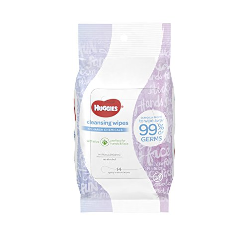 HUGGIES On-The-Go Scented Cleansing Wipes; Alcohol-Free, Hypoallergenic, Lightly Scented, 14 Count (Pack of 8)