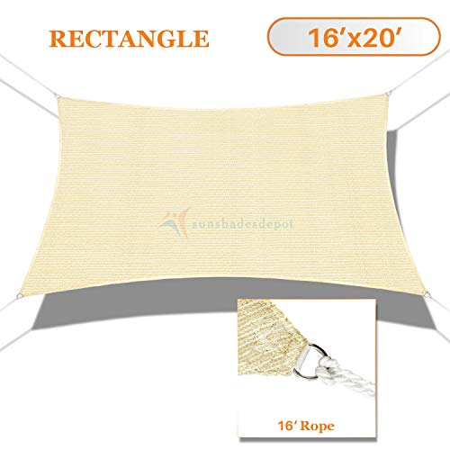 Sunshades Depot 16' x 20' Sun Shade Sail Rectangle Permeable Canopy Beige Customize Commercial Standard 180 GSM HDPE
