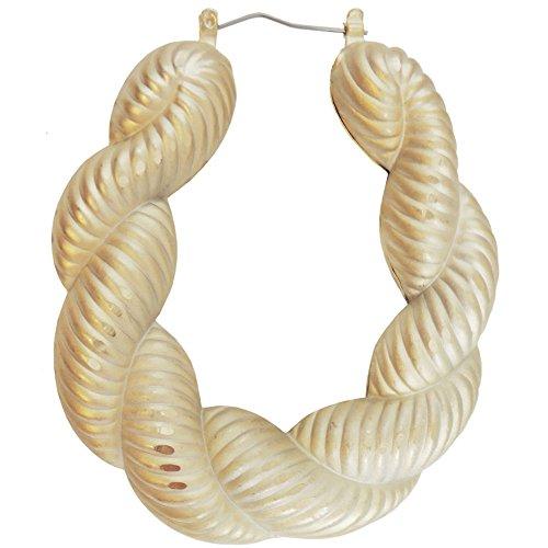 (Girlprops Truly Vintage Old School 1980'S Doorknocker Earrings, Huge Rope Hoops in Gold Tone with Matte)