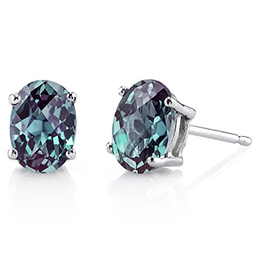 14 Karat White Gold Oval Shape 2.00 Carats Created Alexandrite Stud Earrings