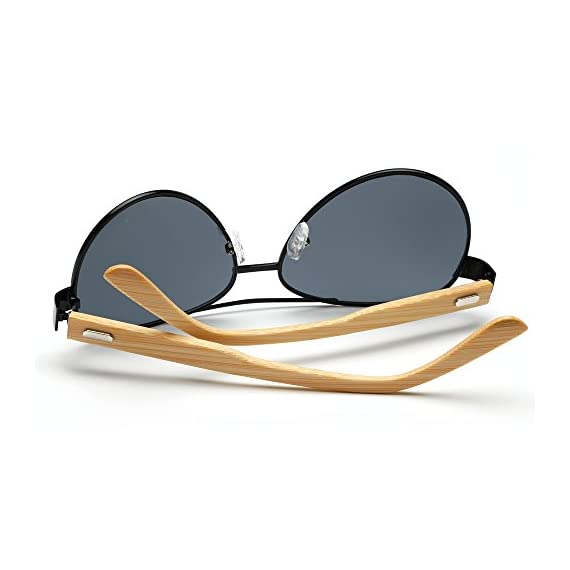 VeBrellen Bamboo Wood Arms Classic Mirrored Sunglasses For Men & Women 5 1.Materials——AC lens & Bamboo Temple. 2.Bamboo Temple——Only eco-friendly and recycled wood used. No harm is done to the environment, feel good about yourself! 3.Flexible Alloy Frame. The More Flexible the More Comfortable. No Worry About Glasses Falling Down. Half frame, special and vintage design.