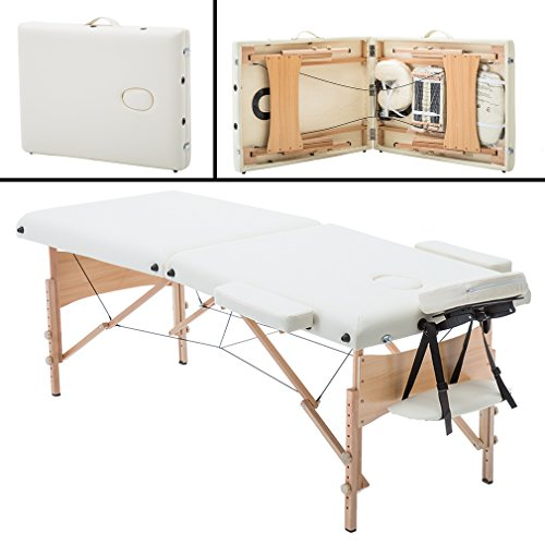 2″ Pad 84″ Cream Massage Table Free Carry Case Bed Spa Facial
