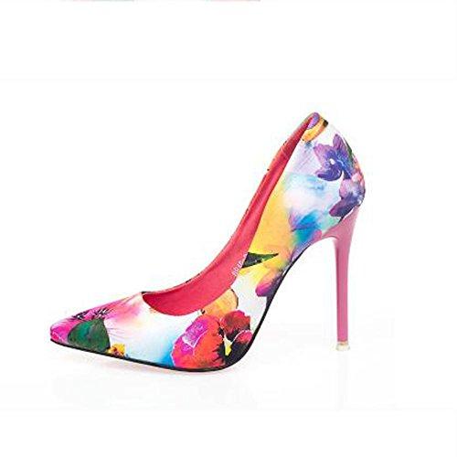 L@YC Frauen Blumen High Heels Fr¨¹hjahr und Herbst und Winter Komfort Schuhe Zehen High Heels Kleid Pumps Pink