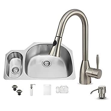 VIGO 32 inch Undermount 80/20 Double Bowl 18 Gauge Stainless Steel Kitchen Sink with Aylesbury Stainless Steel Faucet, Grid, Two Strainers and Soap Dispenser