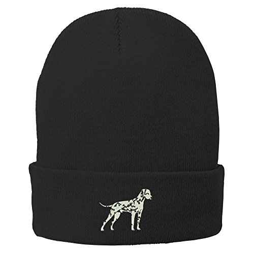 Embroidery Dalmatian (Trendy Apparel Shop Dalmatian Embroidered Winter Knitted Long Beanie - Black)
