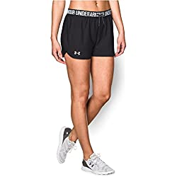 Under Armour Women's Play Up Shorts, Black (002)/Metallic Silver, Medium