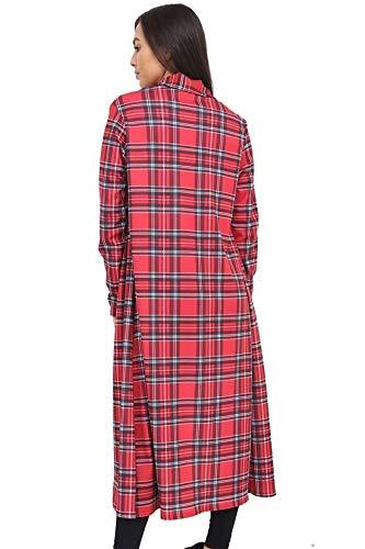 Ouvert Petit Tartan Plumeau Imprim Longues De Sur Pour Grand Red Maxi Crpe Le Islander Manches Fashions Cardigan Femmes En Devant Manteau xxx 1SBxTO