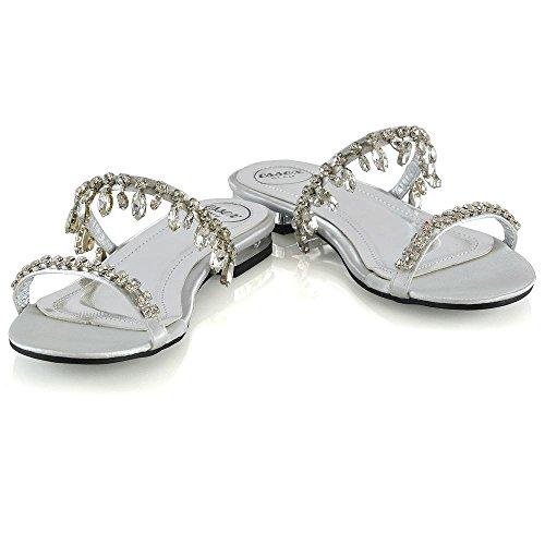 Essex Glam Sandales Plates Pour Femmes Dames Glisser Sur Slider Sparkly Diamante Chaussures Argent Satin