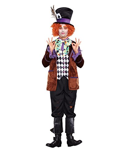 Dreamgirl Men's Hatter Madness Costume, Multi, Large -