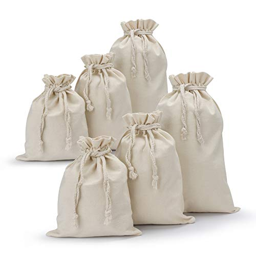 Canvas Drawstring Bag, 6 Pack Segarty Thick Natural Cotton Draw String Muslin Bags Bulk, Reusable Produce Plain Small Pouch, Storage Vegetable Fruits, Tea Leaves, Grains, Nuts, Beans, Lunch - Leaf Sacks