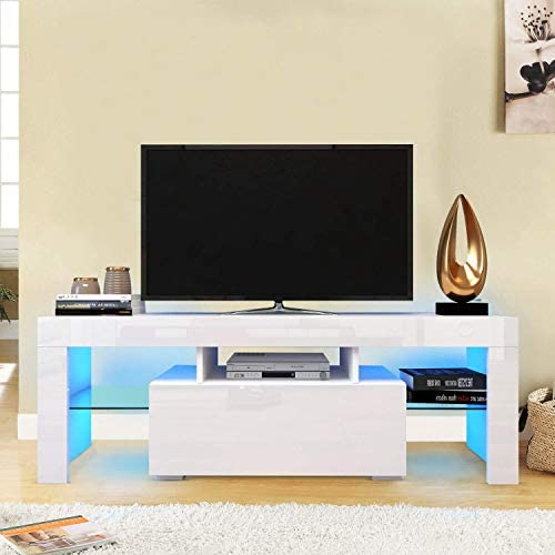 DKLGG CabinetMedia Stand Farmhouse Entertainment Center Lights