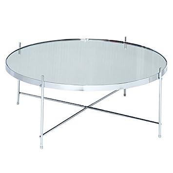 Hochwertig Lounge Zone Design Couchtisch Wohnzimmertisch Click III Gestell Chrom  Tischplatte Spiegelglas Rund 80cm 13790