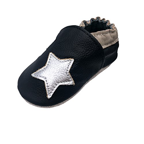 iEvolve Baby Shoes Baby Toddler Soft Sole Prewalker First Walker Crib Shoes Baby Moccasins (12-18 Months, Black (Love White Soft Sole Shoes)