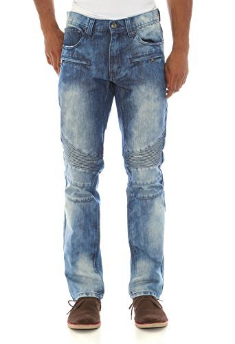 Akademiks Men's Booker Straight Leg Biker Denim Jeans-Ice-30/32