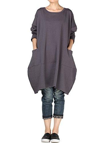 Mordenmiss Women's Stylish Sweatshirt Long Sleeve T-Shirt Tops with Pockets L Dark Gray