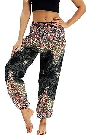 SHOWNO Women's Casual High Rise Yoga Wide Leg Print