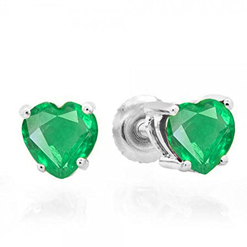 1.30 Carat (ctw) 14K White Gold 5 MM Heart Shape Natural Green Emerald Ladies Stud Earrings 1 1/3 CT