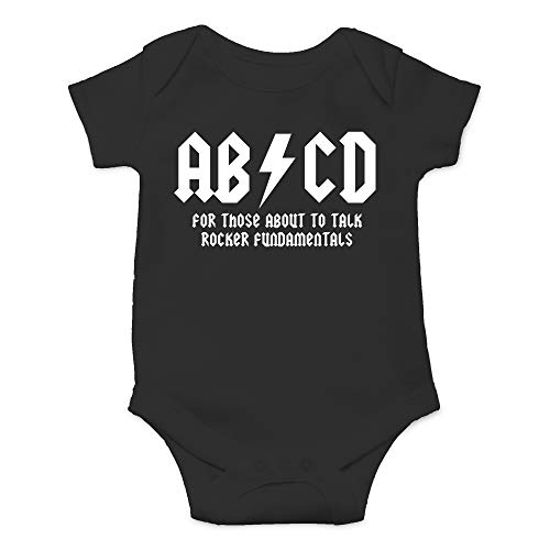CBTwear ABCD - AC Music Toddler DC Rock and Roll Funny Romper Cute Novelty Infant One-Piece Baby Bodysuit (12 Months, Black)