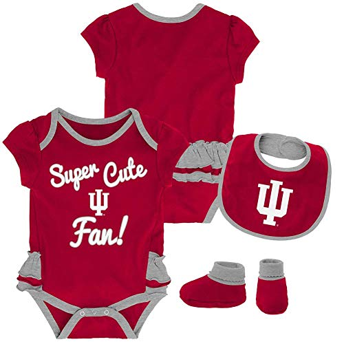 - Outerstuff Indiana University Hoosiers Creeper, Bib and Bootie Set Infant Set (6-9 M)