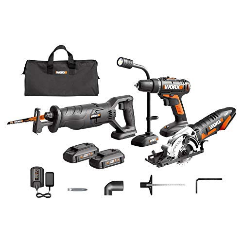 (WORX WX943L 20V Cordles Drill Driver WX101L, 20V Lithium Circular Worxsaw WX523L, 20V Cordless Reciprocating Saw WX500L and 20V Flexible LED light WX028L Combo Kit )