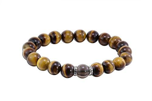Black Obsidian Bracelet - COLORFEY Mens Tibetan Healing Energy Genuine Gemstone Tiger Eye Lapis Lazuli Beads Black Buddha Bracelet