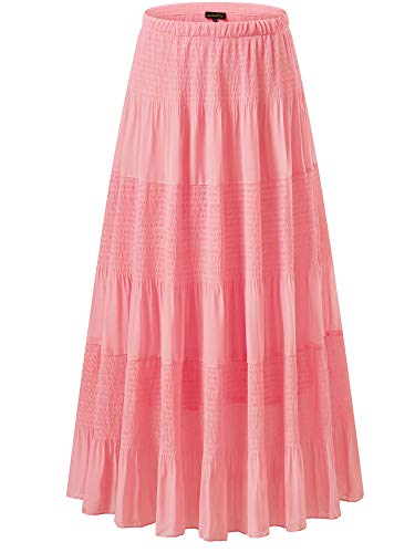 NASHALYLY Women's Chiffon Elastic High Waist Pleated A-Line Flared Maxi Skirts (XL, Pink-1)]()