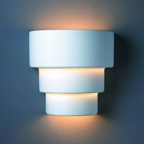 Justice Design Group Lighting CER-2225-BIS Wall Sconce with Ceramic Bisque Shades, White