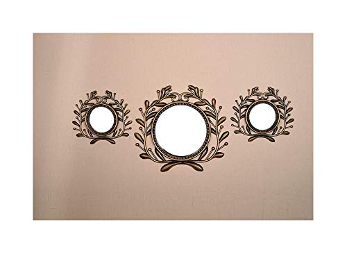 All American Collection All New Seperated 3 Piece Decorative Mirror Set, Wall Accent Display (Gold Greek Crown)