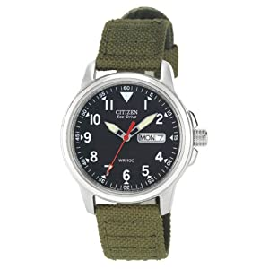 41DTtEE8WsL. SS300  - Citizen Men's BM8180-03E Eco-Drive Stainless Steel Watch with Green Canvas Band