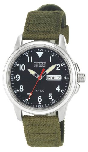 41DTtEE8WsL - Citizen Men's BM8180-03E Eco-Drive Stainless Steel Watch with Green Canvas Band